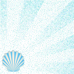 A square poster with a blue seashell on a background of confetti. Template for summer flyer, for advertising of tourist offers, souvenirs.