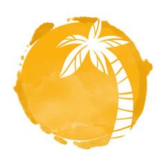 Watercolor circle and palm tree