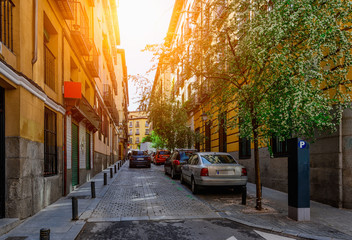 Old narrow cozy street in Madrid. Spain