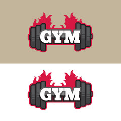 Set of gym logos, labels in vintage style