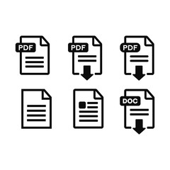 PDF file, web icon. design vector set