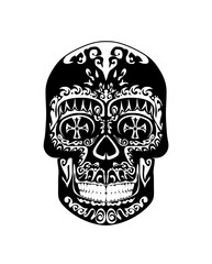 Vintage gothic black and white scull
