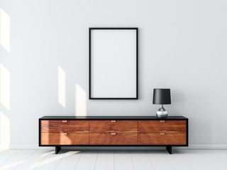 Black Poster Frame Mockup hanging on the wall, modern bureau with Table lamp. 3d rendering