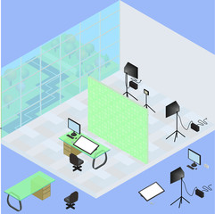 Isometric photo studio room interior with workplace, equipment, professional lighting and fotoaparat. 3d isometric creative fotostudio concept and beautiful view from window