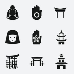 Set of 9 asia filled icons
