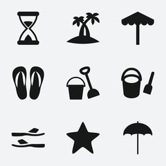 Set of 9 sand filled icons
