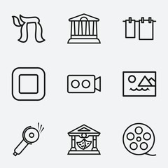 Set of 9 sign outline icons