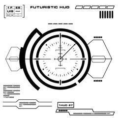 Futuristic black and white HUD, virtual touch user interface in flat design