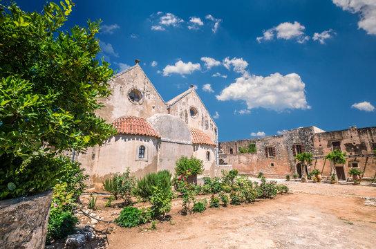 Arkadi monastery on Crete island, Greece. Ekklisia Timios Stavros - Moni Arkadiou in Greek. It is a Venetian baroque church.