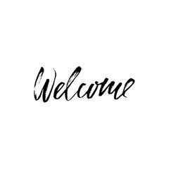 Welcome inscription. Hand drawn design elements. Black and white vector illustration. Handwritten dry brush inscription.