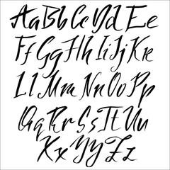 Hand drawn font. Modern brush lettering. Elegant alphabet. Vector illustration.