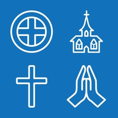Set of 4 christianity outline icons