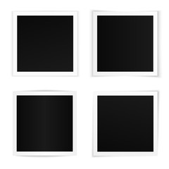 Vector set of curved square photo frames with various soft shadows. Photo frame templates on white background isolated.