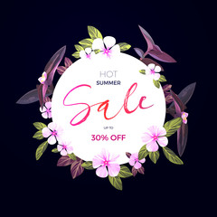 Summer tropical sale design with exotic pink and purple flowers. Jungle vector floral template.