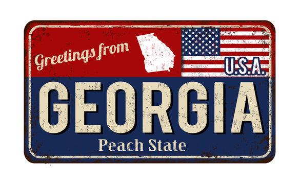 Greetings from Georgia vintage rusty metal sign