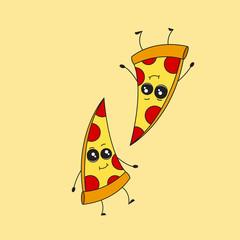Cartoon pizza giving thumb up (pizza)