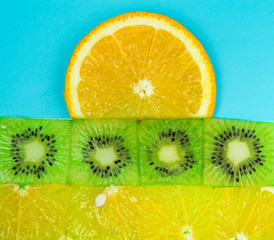 fruit picture, sunrise, cut the layers of kiwi and orange