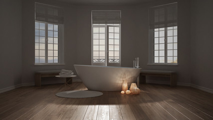 Spa bathroom, night relax, sunrise sunset scene, minimalist interior design