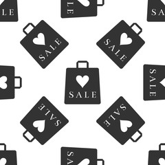 Shopping bag shop love like heart icon seamless pattern on white background. Vector Illustration