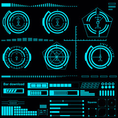 Futuristic blue virtual graphic touch user interface