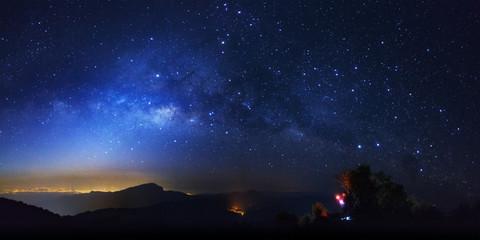 Milky way galaxy at Doi inthanon Chiang mai, Thailand.Long exposure photograph.With grain