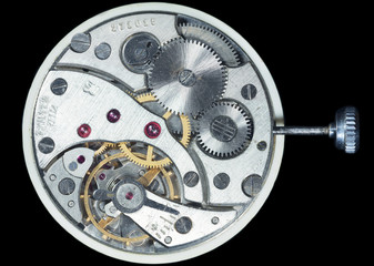 Mechanism of pocket watches 'Molnija' 3602. Made in USSR 1980.