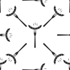Sausage on fork icon seamless pattern on white background. Vector Illustration