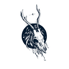 Emblem with deer skull. Boho style. Skull of elk with horns. It can be used as an idea for a tattoo. Dark, gothic.