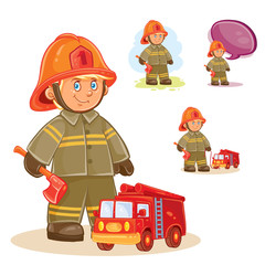Vector icon of small child firefighter in fire protection suit and his machine on a string. Design element, print for t-shirt