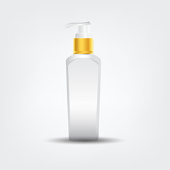 Shampoo bottle body care product with label design on shampoo bottle. Conditioner shampoo template mock up.
