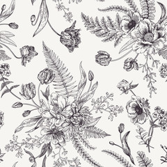 Seamless floral pattern  with spring flowers.