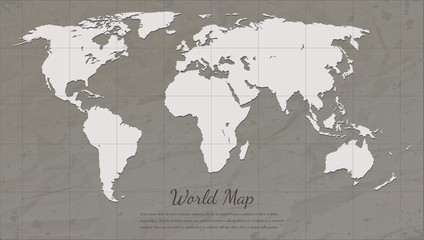 Vintage World Map. Paper card map silhouette. Vector