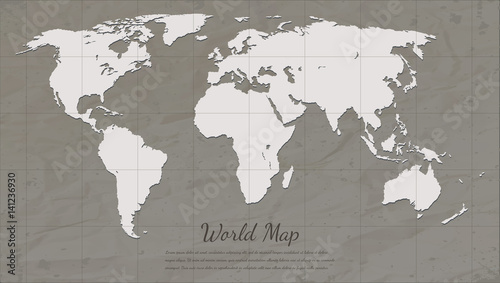 Vintage World Map Paper Card Map Silhouette Vector Stock Image