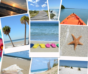 tropical vacation photos collage background
