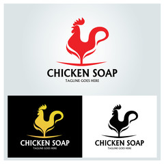 Chicken soap logo design template. Vector illustration