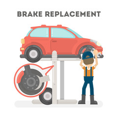 Brake replacement on white background. Car service.