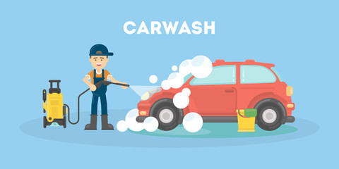 Papiers peints Cartoon voitures Car washing service. Funny man in uniform washes red car with soap and water.