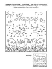 Easter themed connect the dots picture puzzle and coloring page with greeting and painted eggs. Answer included.
