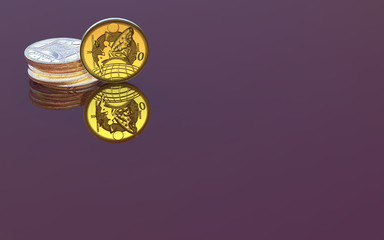 Golden coins on the reflective background