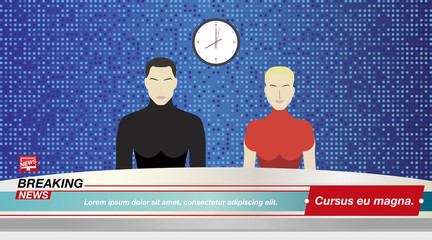 Anchorman's man and a woman in Breaking News In the television studio. Flat vector illustration EPS10