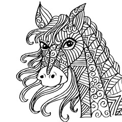 Hand-drawn horse with ethnic ornament.