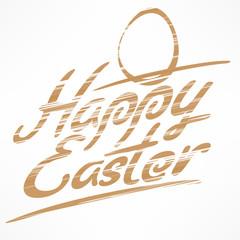 Hand written Easter bronze lettering on white. Happy modern