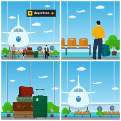 Airport , Waiting Room with People , View on Airplane through the Window ,Luggage Bags for Traveling, Scoreboard Departure , Travel and Tourism Concept, Vector Illustration