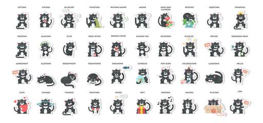 Cat emoji set on white background. Joy and sick, sad and more. Stickers.