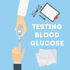 Blood test for glucose. Doctor and patient. Checking insulin.