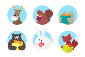 Vector illustration icon set of woodland animals holding gift box
