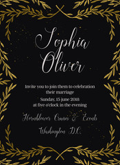 Hand drawn vector illustration - wedding invitation with vintage branches and inky splashes. Gold botanical leaves. Perfect for invitations, greeting cards, blogs, posters and more.
