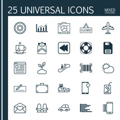 Set Of 25 Universal Editable Icons. Can Be Used For Web, Mobile And App Design. Includes Elements Such As Portfolio, Closed Placard, Airliner And More.
