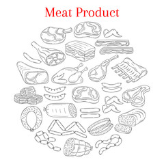 Vector illustration with different kinds of meat
