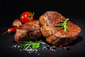 Garden Poster Steakhouse Grilled beef fillet steaks with spices